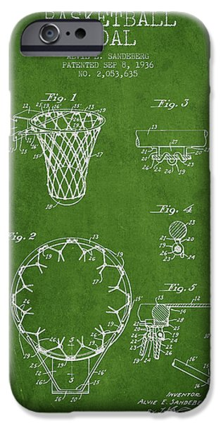 Hoops iPhone Cases - Vintage Basketball Goal patent from 1936 iPhone Case by Aged Pixel