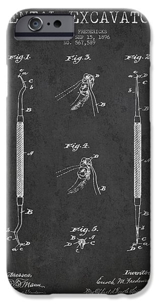 Device iPhone Cases - Vintage Dental Excavator Patent Drawing From 1896 - Dark iPhone Case by Aged Pixel