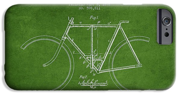Transportation Digital Art iPhone Cases - Vintage Folding Bicycle patent from 1898 iPhone Case by Aged Pixel