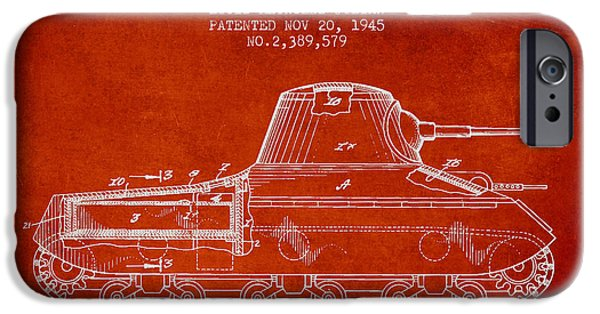 Fighting Digital Art iPhone Cases - Vintage Military Tank Patent from 1945 iPhone Case by Aged Pixel