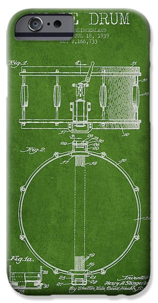 Drummer iPhone Cases - Snare Drum Patent Drawing from 1939 - Green iPhone Case by Aged Pixel