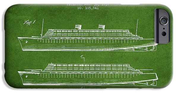 Marine iPhone Cases - Vintage Steamship patent from 1937 iPhone Case by Aged Pixel