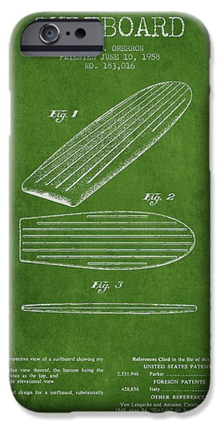 Surfboards iPhone Cases - Vintage Surfboard  patent from 1958 iPhone Case by Aged Pixel