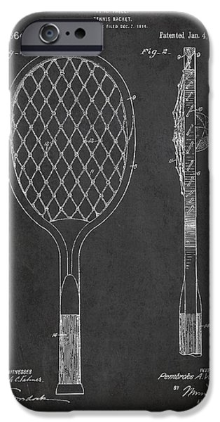 Tennis Ball iPhone Cases - Vintage Tennnis Racket Patent Drawing from 1921 iPhone Case by Aged Pixel