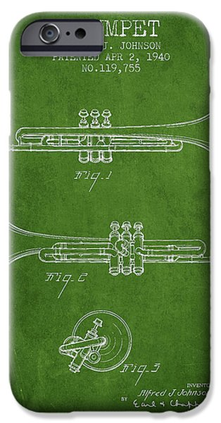 Trumpet iPhone Cases - Vintage Trumpet Patent from 1940 - Green iPhone Case by Aged Pixel