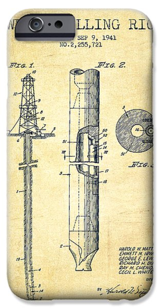 Industry Digital Art iPhone Cases - Vintage Well drilling rig Patent from 1941 iPhone Case by Aged Pixel
