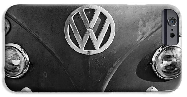 Antique Cars iPhone Cases - Volkswagen VW Bus Front Emblem iPhone Case by Jill Reger