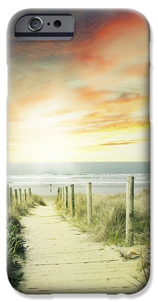 Moody Beach iPhone Cases - Walkway iPhone Case by Les Cunliffe