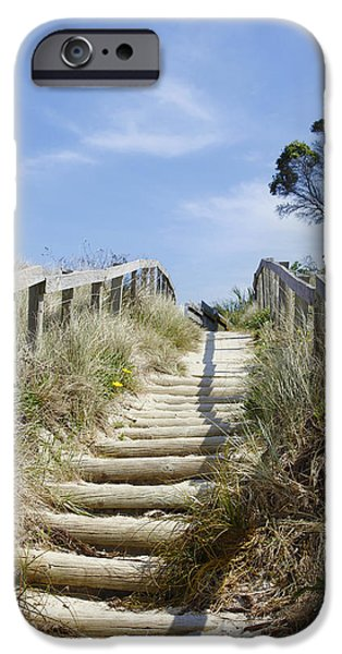 Sand Dunes iPhone Cases - Walkway to beach iPhone Case by Les Cunliffe