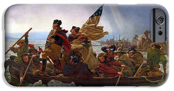 American Revolution iPhone Cases - Washington Crossing the Delaware River iPhone Case by Emanuel Gottlieb Leutze