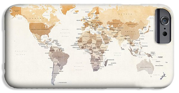 World Digital Art iPhone Cases - Watercolour Political Map of the World iPhone Case by Michael Tompsett