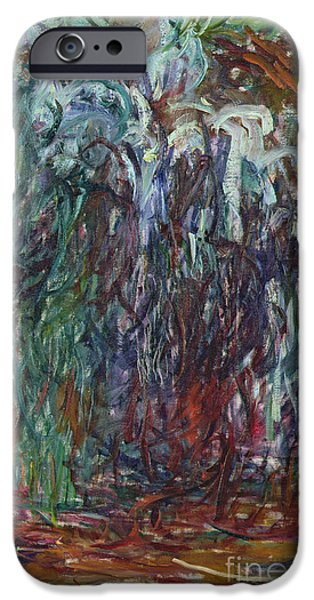 Weeping Willow Tree iPhone Cases - Weeping Willow iPhone Case by Claude Monet