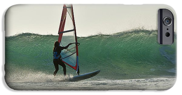 Luz iPhone Cases - Windsurfing Tarifa, Cadiz, Andalusia iPhone Case by Ben Welsh