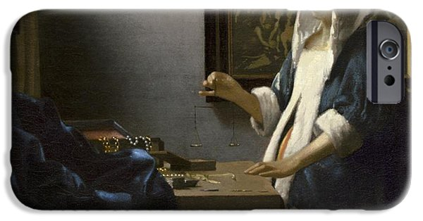 Vivid Drawings iPhone Cases - Woman Holding a Balance iPhone Case by Johannes Vermeer