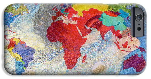 President Obama iPhone Cases - World Map and Barack Obama Stars iPhone Case by Augusta Stylianou