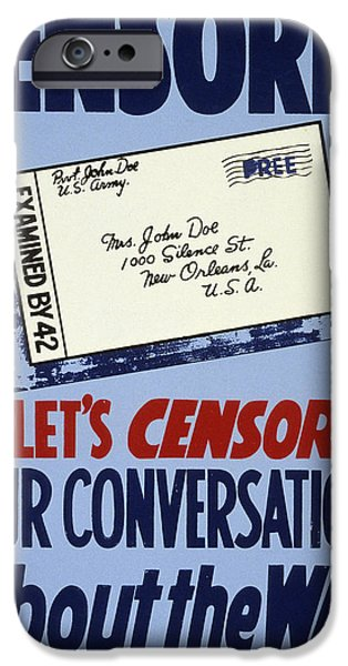 Censorship iPhone Cases - Wwii: Careless Talk Poster iPhone Case by Granger
