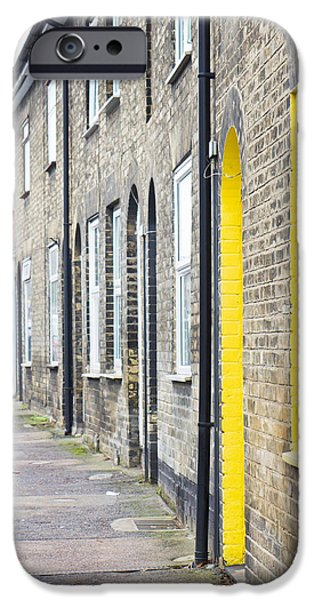 White Frame House iPhone Cases - Yellow door iPhone Case by Tom Gowanlock