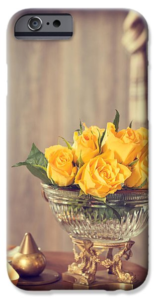 Scarves iPhone Cases - Yellow Roses iPhone Case by Amanda And Christopher Elwell