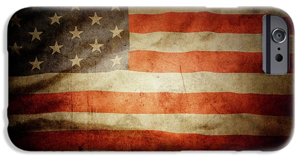 Macro Photographs iPhone Cases - American flag  iPhone Case by Les Cunliffe