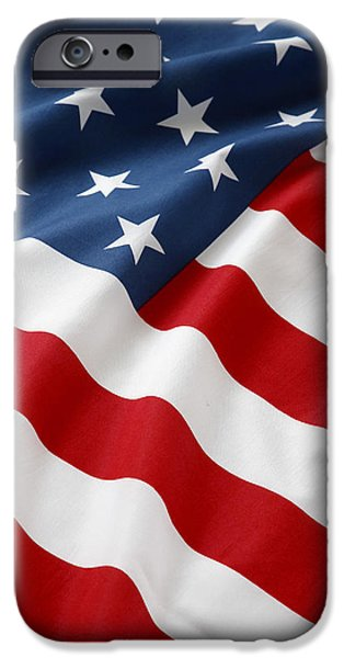 Patriotism iPhone Cases - USA flag iPhone Case by Les Cunliffe