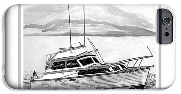 Pen And Ink iPhone Cases - 32 foot Pacemaker Sportsfisher iPhone Case by Jack Pumphrey
