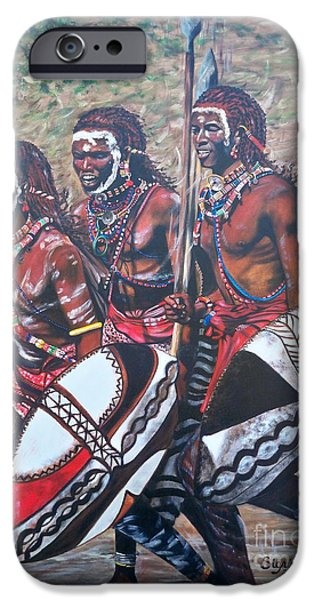 Tribal Tapestries - Textiles iPhone Cases - 335 African Masaai Warriors iPhone Case by Sigrid Tune