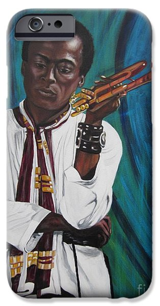 Miles-davis iPhone Cases - 336 Miles with Red Horn iPhone Case by Sigrid Tune