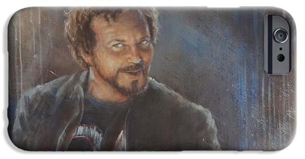 Pearl Jam Paintings iPhone Cases - Vedder 34 iPhone Case by Josh Hertzenberg