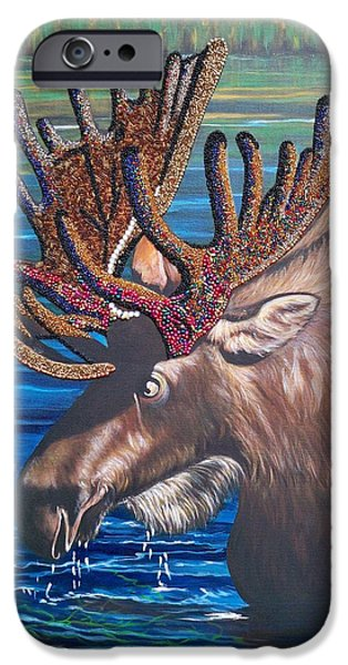 Moose In Water iPhone Cases - 348 Beaded Moose in the Lake iPhone Case by Sigrid Tune