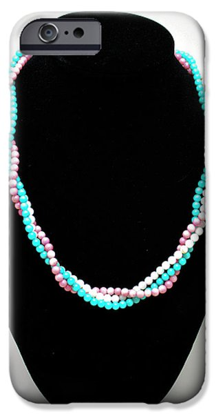 Summer Jewelry iPhone Cases - 3584 Three Strand Twisted Shell Necklace iPhone Case by Teresa Mucha