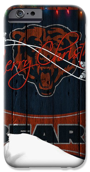 Christmas Greeting iPhone Cases - Chicago Bears iPhone Case by Joe Hamilton
