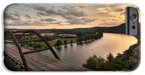 Built Structure iPhone Cases - 360 Bridge Sunset iPhone Case by Todd Aaron