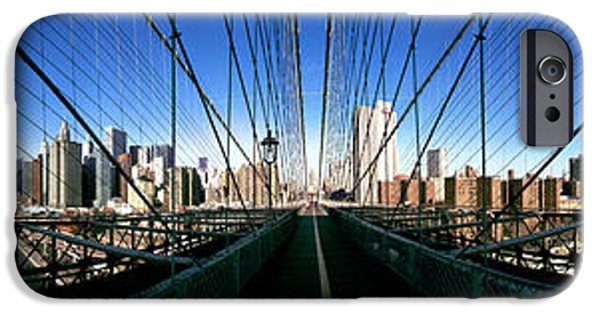 Connection iPhone Cases - 360 Degree View Of A Bridge, Brooklyn iPhone Case by Panoramic Images