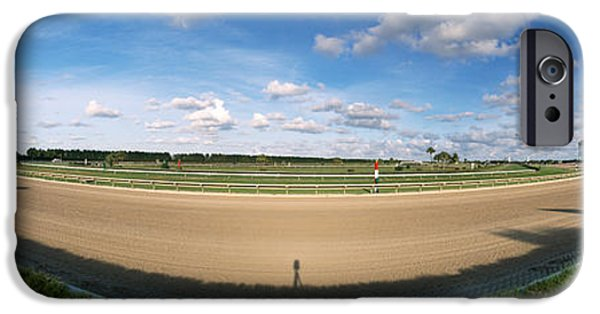 Horse Racing Photographs iPhone Cases - 360 Degree View Of Horse Racing Track iPhone Case by Panoramic Images