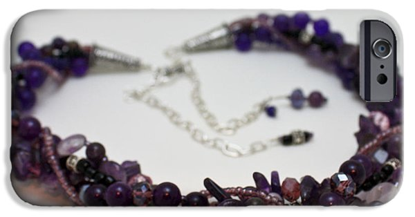 Sterling Silver iPhone Cases - 3607 Multi Strand Adjustable Amethyst Necklace iPhone Case by Teresa Mucha