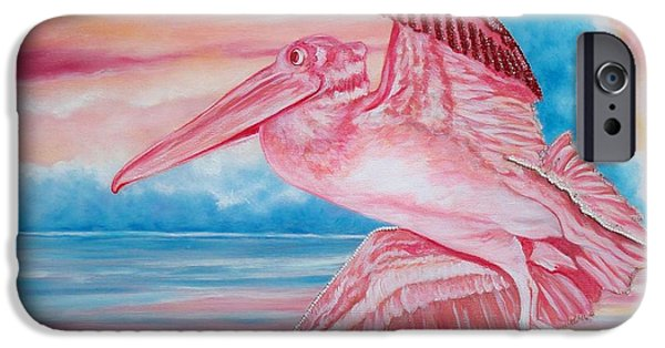 Flying Seagull Mixed Media iPhone Cases - 361 Beaded Pink Pelican iPhone Case by Sigrid Tune