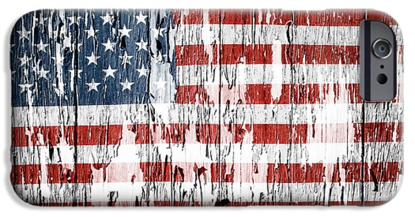 Old Photos iPhone Cases - American flag iPhone Case by Les Cunliffe