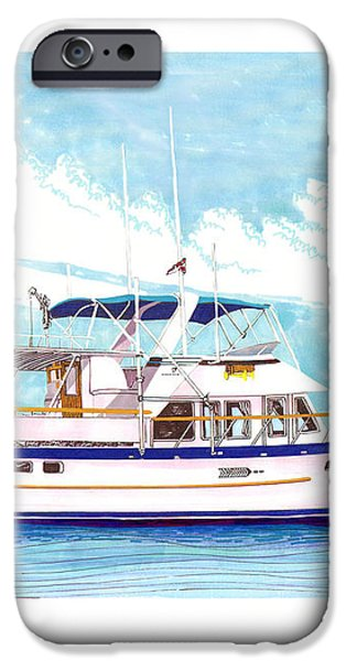 37 foot Marine Trader 37 Trawler yacht at anchor iPhone Case by Jack Pumphrey