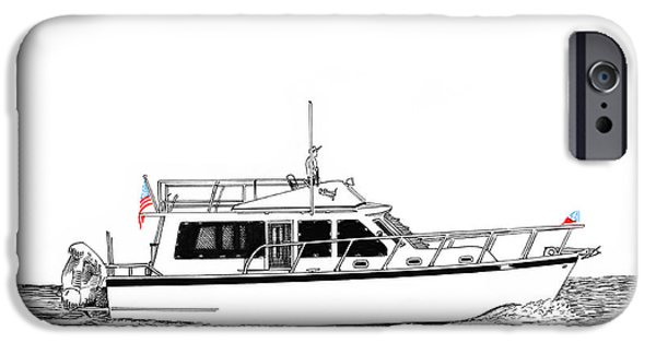 Pleasure Drawings iPhone Cases - 37 Ft Northwest Trawler Yacht iPhone Case by Jack Pumphrey