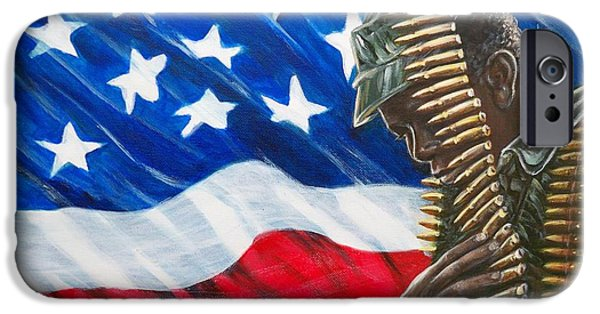 Constitution Paintings iPhone Cases - 377 Soldier U.S.A. iPhone Case by Sigrid Tune