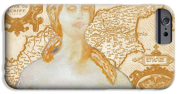 Old Map Digital iPhone Cases - Ancient Cyprus Map and Aphrodite iPhone Case by Augusta Stylianou