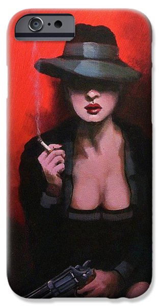 Film Noir iPhone Cases - .38 Special iPhone Case by Tom Shropshire