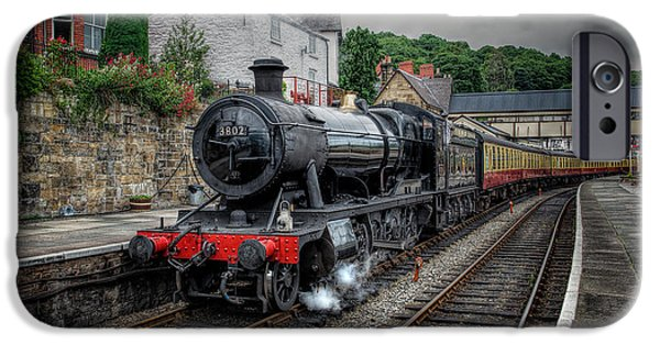 Steam Locomotive iPhone Cases - 3802 at Llangollen Station iPhone Case by Adrian Evans