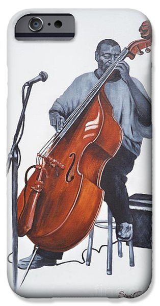 Franklin Drawings iPhone Cases - 382 Henry Franklin - on bass iPhone Case by Sigrid Tune