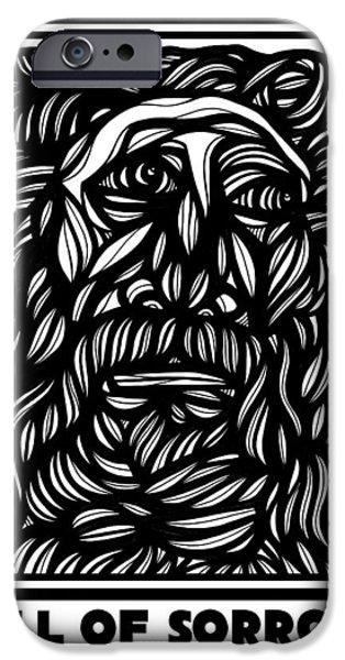 Zeus iPhone Cases - Dovenmuehler Zeus Greek Mythology Black and White iPhone Case by Eddie Alfaro
