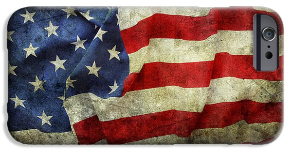 Nation iPhone Cases - American flag iPhone Case by Les Cunliffe
