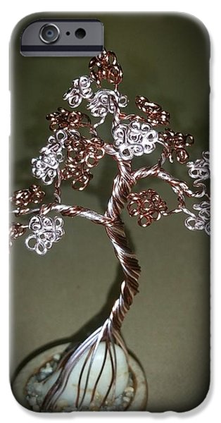 Plants Sculptures iPhone Cases - #39 Pretty Petite Bonsai Tree Wire Tree Sculpture iPhone Case by Ricks  Tree Art