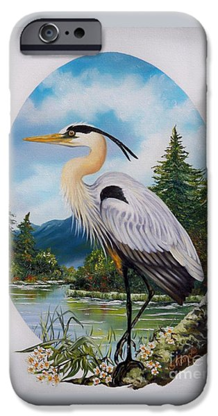 Nature Scene Paintings iPhone Cases - 394W - Great Blue Heron at Home iPhone Case by Sigrid Tune