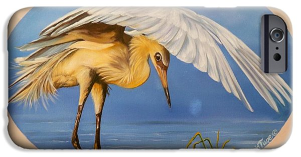 Waterscape Paintings iPhone Cases - 398 - Fishing Egret iPhone Case by Sigrid Tune