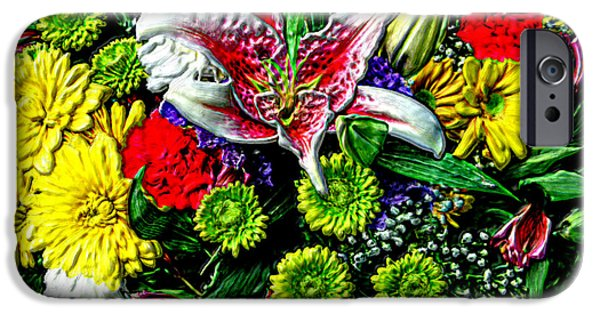 Prismatic Paintings iPhone Cases - 3D Flowers with HDR iPhone Case by Bruce Nutting